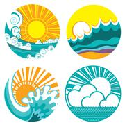 Sun and sea waves. vector icons of  illustration of seascape for design. Stock Illustration