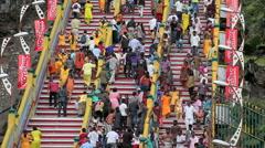 Devotees on Batu Caves steps during Thaipusam Festival Stock Footage