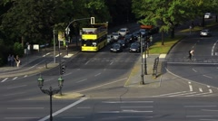 Top shot of a traffic circle in  berlin city with a lot of cars Stock Footage