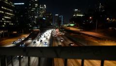 LA Downtown Dolly 07 Forward R Freeway at Night California Stock Footage