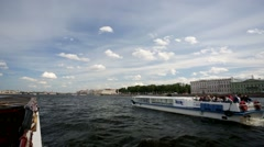Walk along the Neva river, St. Petersburg, Russia. - stock footage