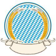 Oktoberfest label . bavaria flag background with scroll for text Stock Illustration