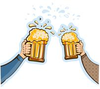 hands man with glasses of beer.vector oktoberfest  illustration isolated on w - stock illustration