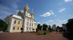 View of Peterhof palace church. - stock footage