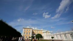 Pan view of Peterhof palace church. - stock footage