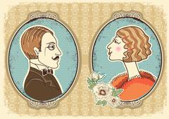 vintage gentleman and woman face portraits.vector illustration - stock illustration
