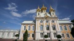 Stock Video Footage of Pan view of Peterhof palace church.