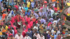 Thaipusam festival drumming in crowd Stock Footage
