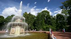 People visit Roman fountains at Peterhof. Stock Footage
