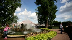 Fountains near the Monplaisir Palace, Peterhof Stock Footage