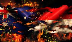 australia indonesia flag war torn fire international conflict 3d - stock illustration