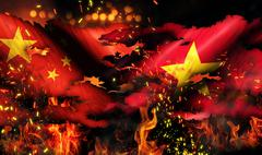 China vietnam flag war torn fire international conflict 3d Stock Illustration
