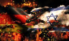 germany israel flag war torn fire international conflict 3d - stock illustration