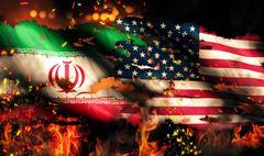 Iran usa flag war torn fire international conflict 3d Stock Illustration