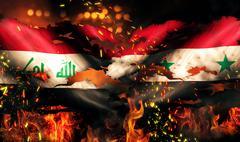 iraq syria flag war torn fire international conflict 3d - stock illustration