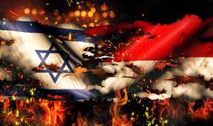Israel indonesia flag war torn fire international conflict 3d Stock Illustration