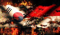 South korea indonesia flag war torn fire international conflict 3d Stock Illustration