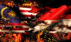 Malaysia indonesia flag war torn fire international conflict 3d Stock Illustration