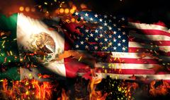 Mexico usa flag war torn fire international conflict 3d Stock Illustration