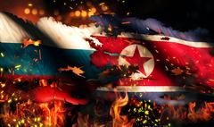 russia north korea flag war torn fire international conflict 3d - stock illustration