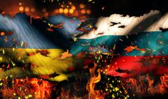 ukraine russia flag war torn fire international conflict 3d - stock illustration