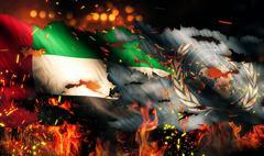 United arab emirates un flag war torn fire international conflict 3d Stock Illustration
