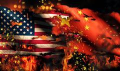 Usa china national flag war torn fire international conflict 3d Stock Illustration