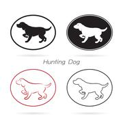 vector image of an dog hunting - stock illustration