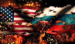 usa russia national flag war torn fire international conflict 3d - stock illustration