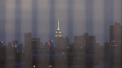 Empire State Building bars window night 4K Manhattan New York City NYC Stock Footage