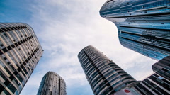 The modern buildings in the sunny day - stock footage