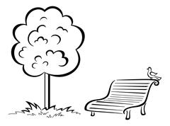 Bird on park bench and tree, contour Piirros