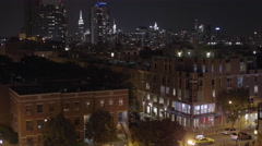 Manhattan Skyline Williamsburg Brooklyn at night in 4K in New York City NYC Stock Footage