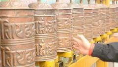 Tibetan prayer wheel Stock Footage