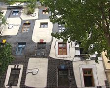 Exterior KUNST HAUS WIEN design Friendensreich Hundertwassers + pan Stock Footage