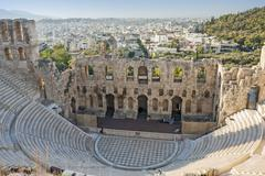 odeon of herodes atticus in athens - stock photo
