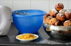 baking oliebollen - stock photo