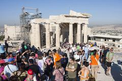 people visiting temple of athena nike - stock photo