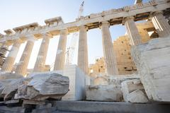 Reconstruction of parthenon in athenian acropolis Stock Photos