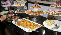 Assortment of Desserts on Catering Buffet - stock footage