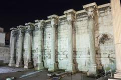 surrounding wall of hadrian library - stock photo