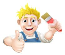 paintbrush man over sign thumbs up - stock illustration