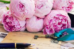 quill pen and antique letters - stock photo