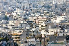 View of houses in athens Stock Photos
