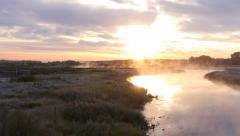 Stock Video Footage air shooting the morning mist over the river - stock footage