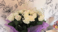Beautiful wedding bouquet of roses Stock Footage