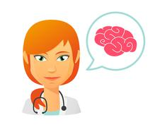 Female doctor with a brain Stock Illustration