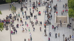 Aerial view on crowd on the street corner in Paris Stock Footage