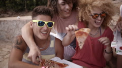 Friends Eating Pizza Stock Footage