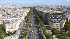 Aerial view on Champs Elysees Paris Stock Footage